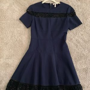 Navy with black lace Rebecca Taylor dress